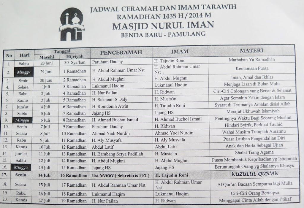 Jadwal Ceramah, Imam Tarawih dan Kuliah Subuh Ramadhan