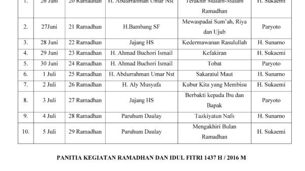 Jadwal I'tikaf 1437H / 2016M Masjid Nurul Iman Benda Baru