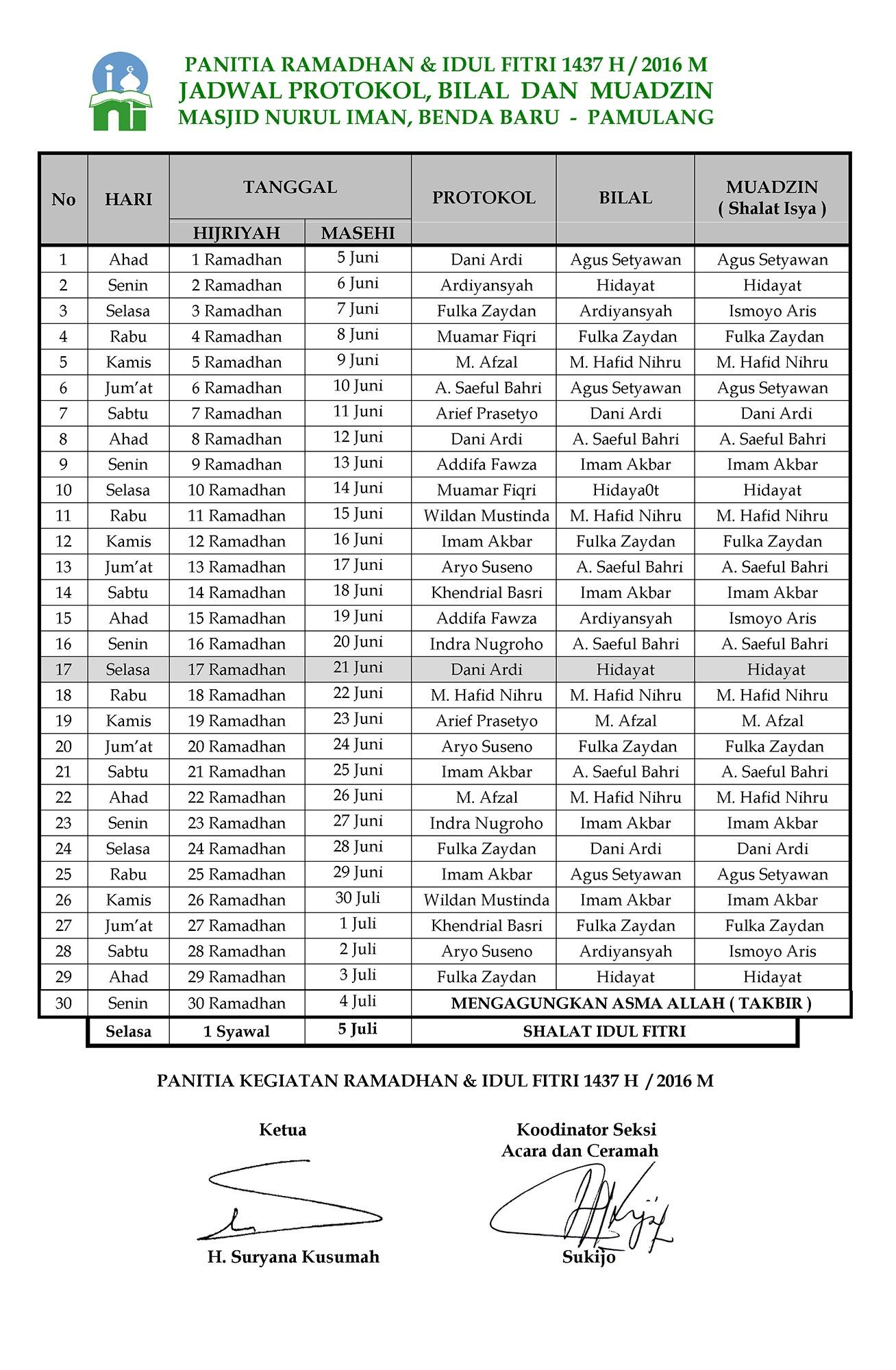 Jadwal Protokol Bilal, Muazin Warna